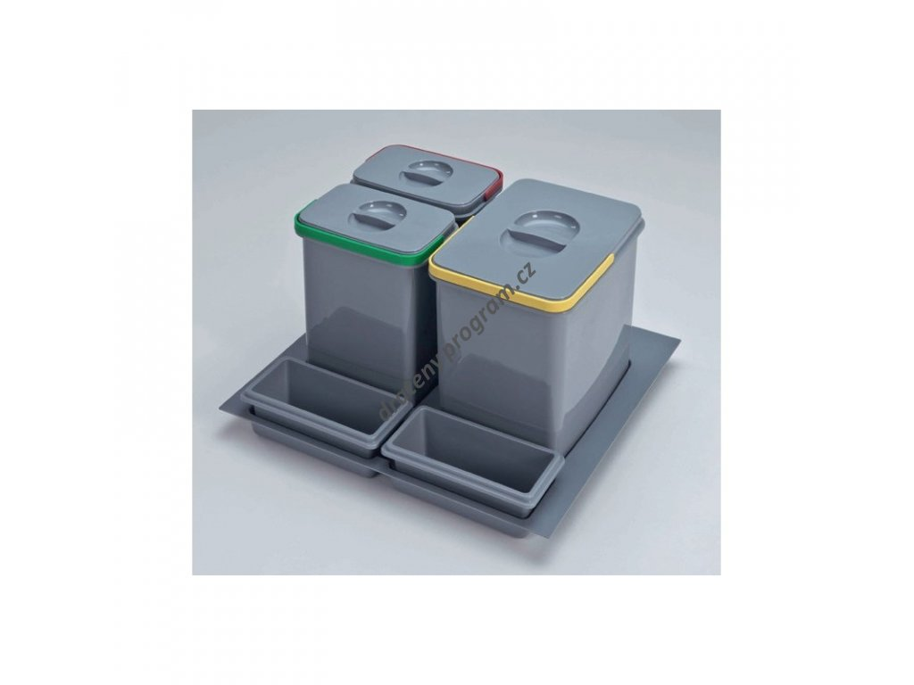 Odpadkový koš do šuplíku 600, 1x15 l + 2x7 l, K60 - šedý plast