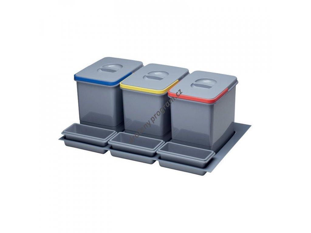 Odpadkový koš do šuplíku 800, 3x15 l, K80 - šedý plast