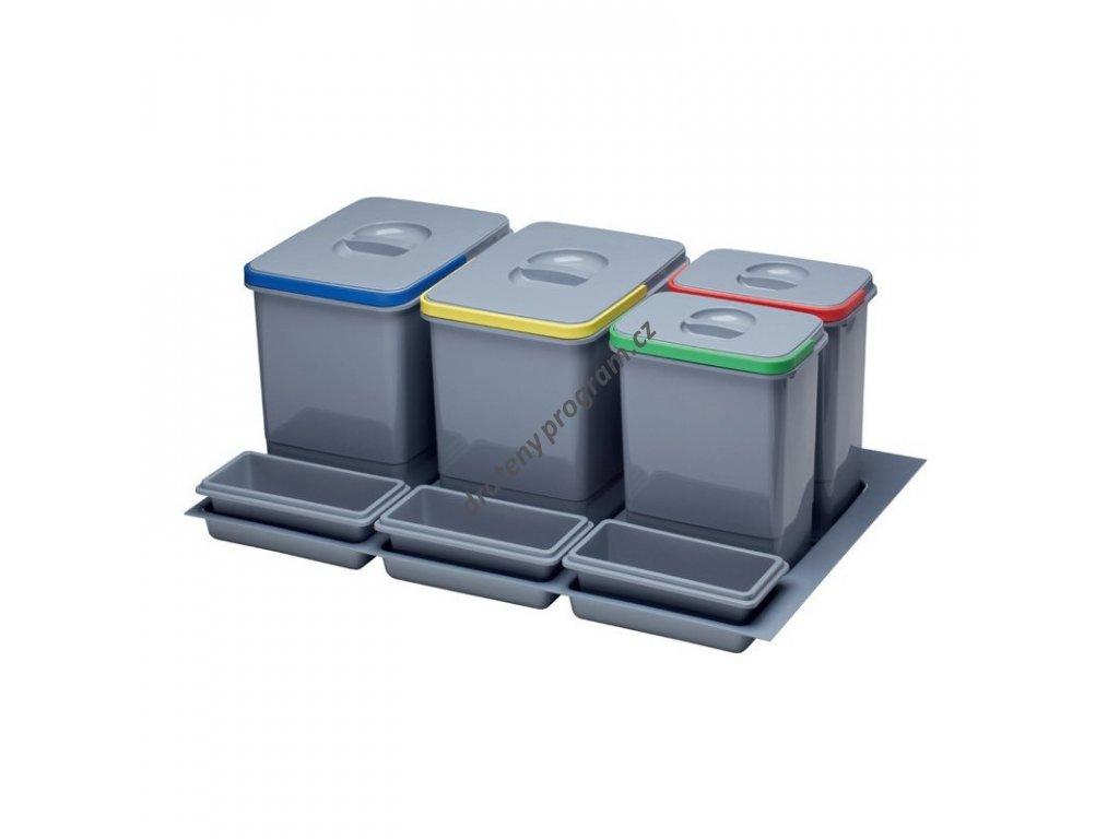 Odpadkový koš do šuplíku 800, 2x15 l + 2x7 l, K80 - šedý plast