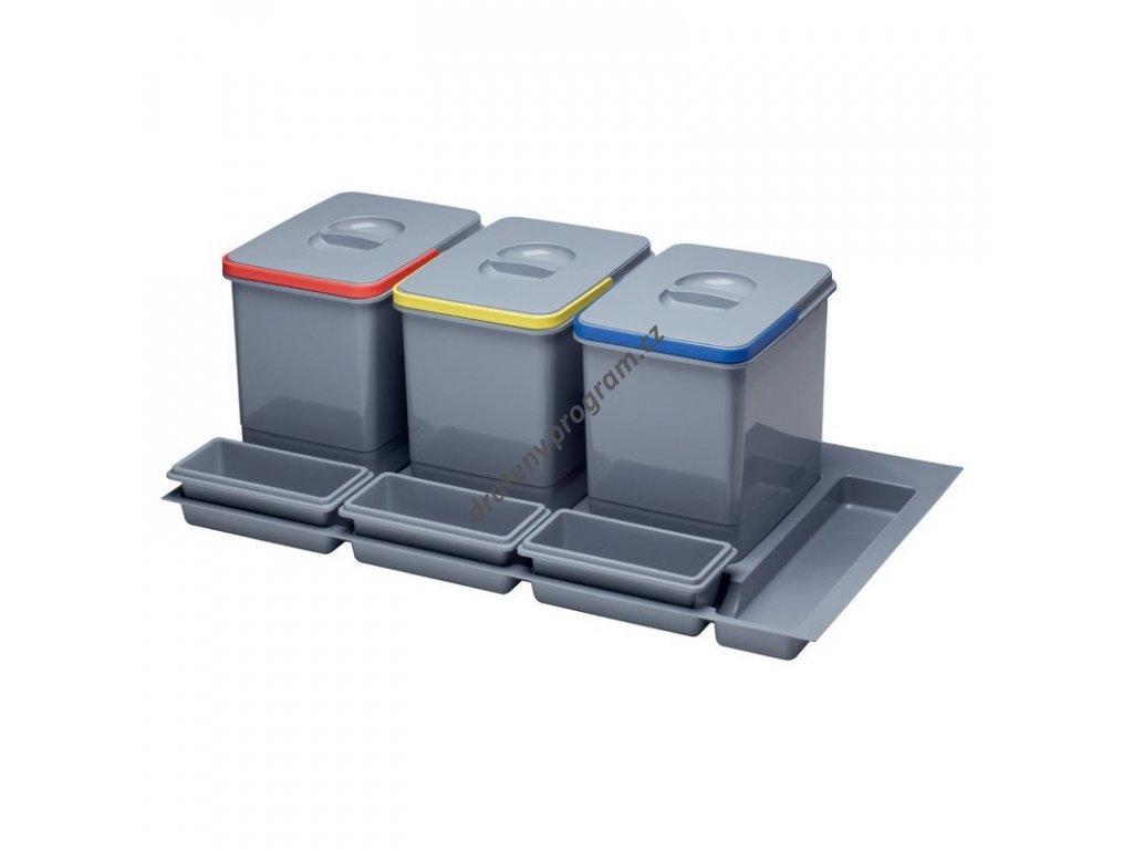 Odpadkový koš do šuplíku 900, 3x15 l, K90 - šedý plast