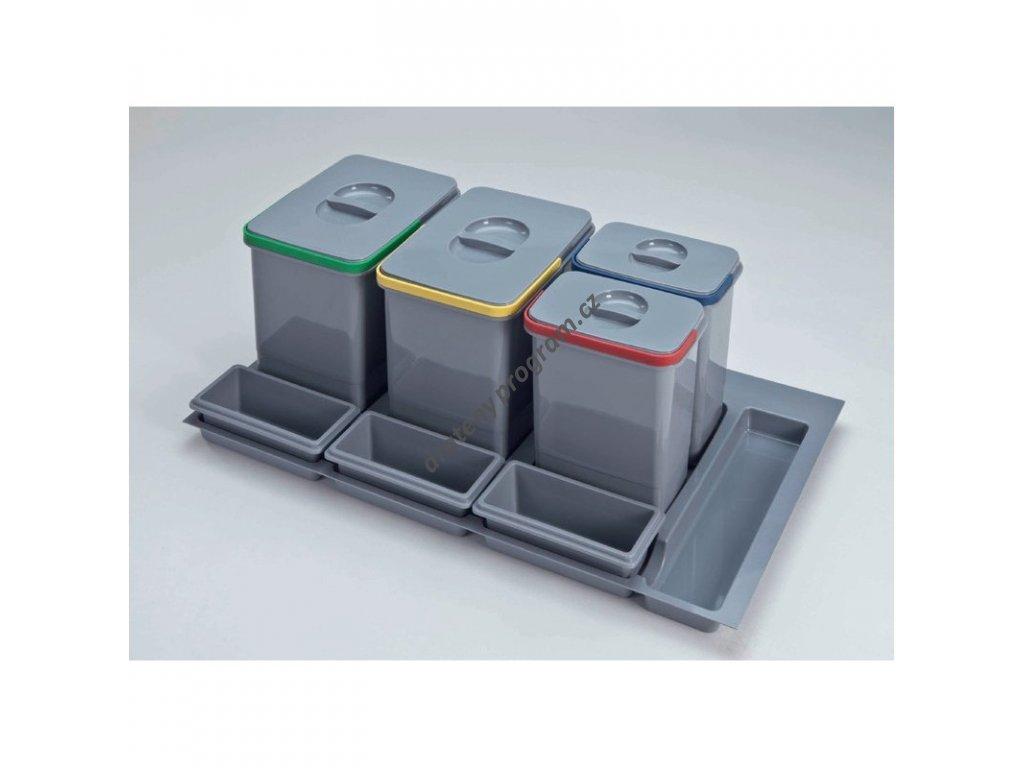Odpadkový koš do šuplíku 900, 2x15 l + 2x7 l, K90 - šedý plast