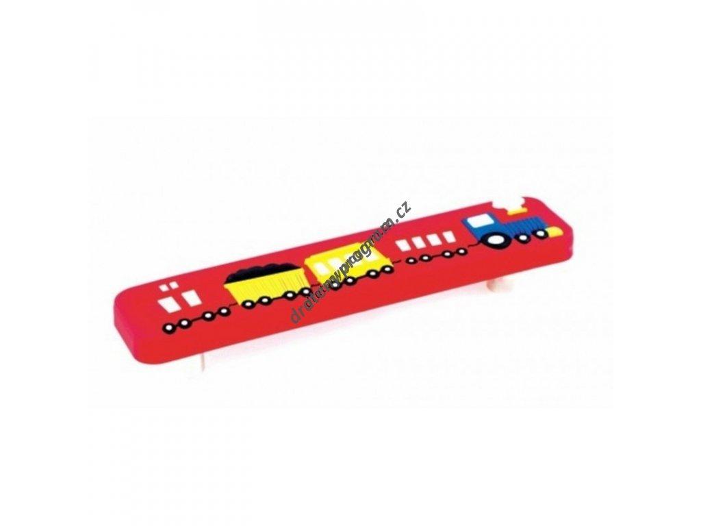 Úchytka dětská UD01 Vlak červený - 96 mm, plast