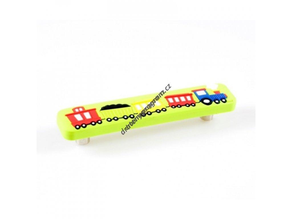Úchytka dětská UD01 Vlak zelený - 96 mm, plast