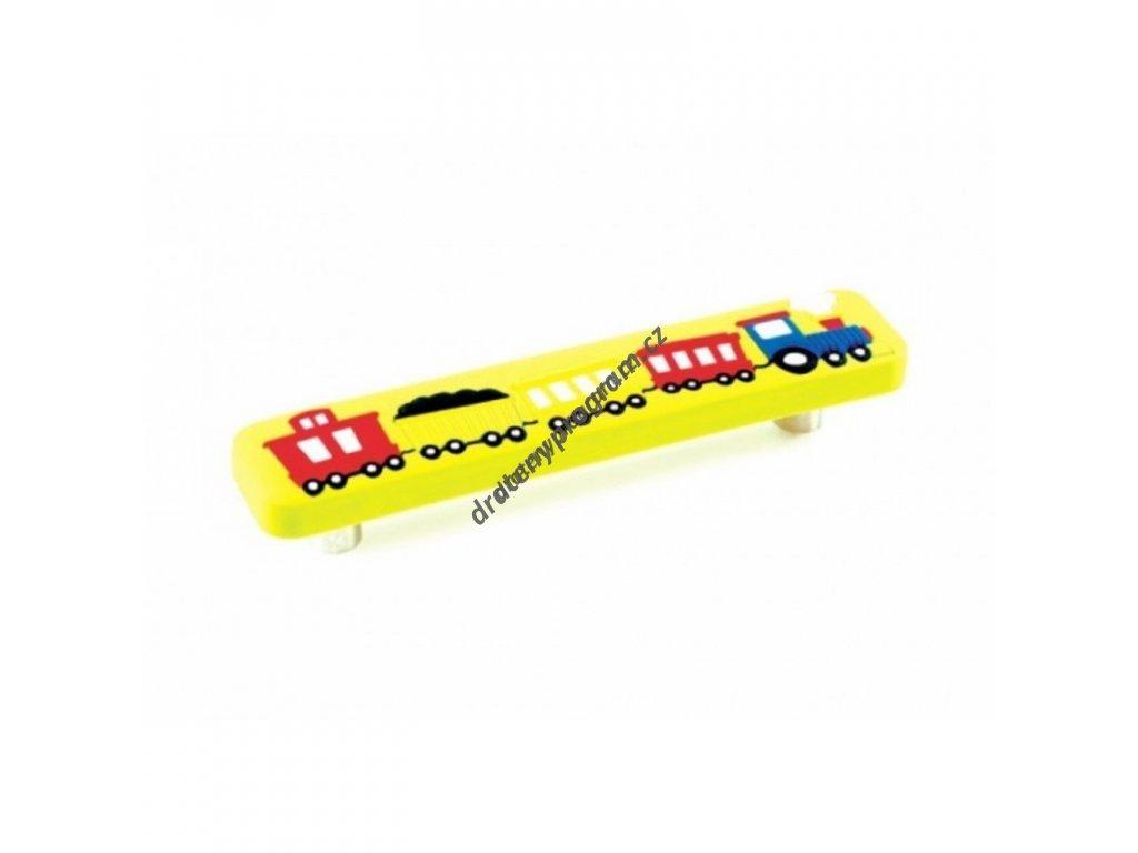 Úchytka dětská UD01 Vlak žlutý - 96 mm, plast
