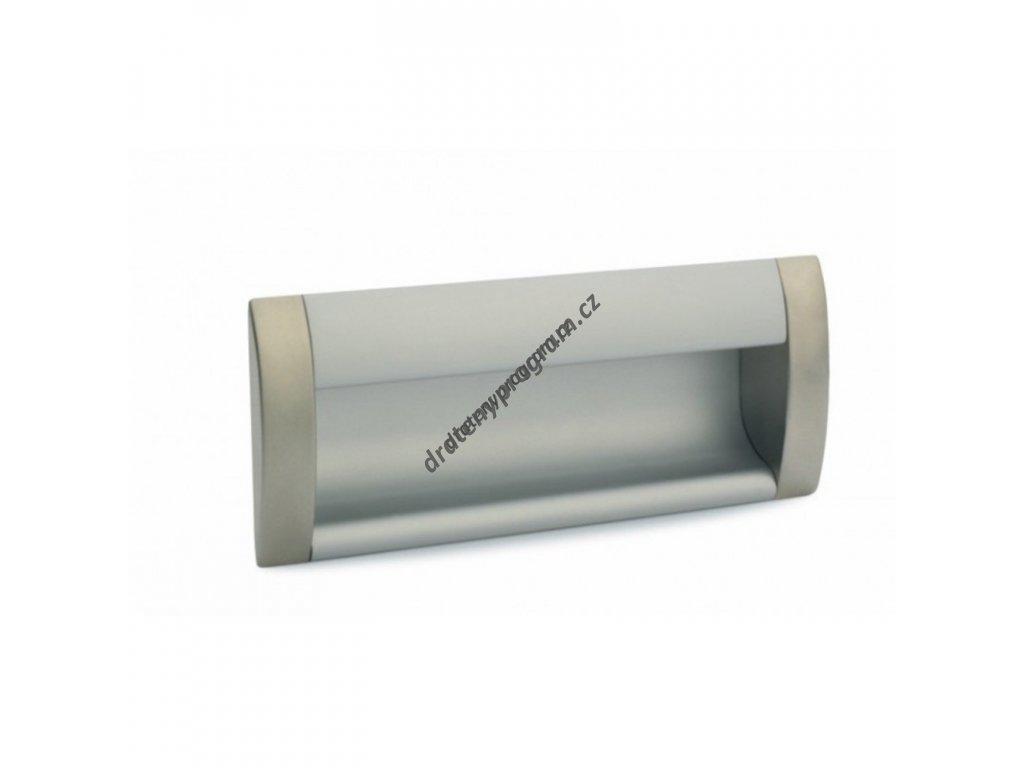 Úchytka zápustná DU08 - 160mm, hliník chrom mat