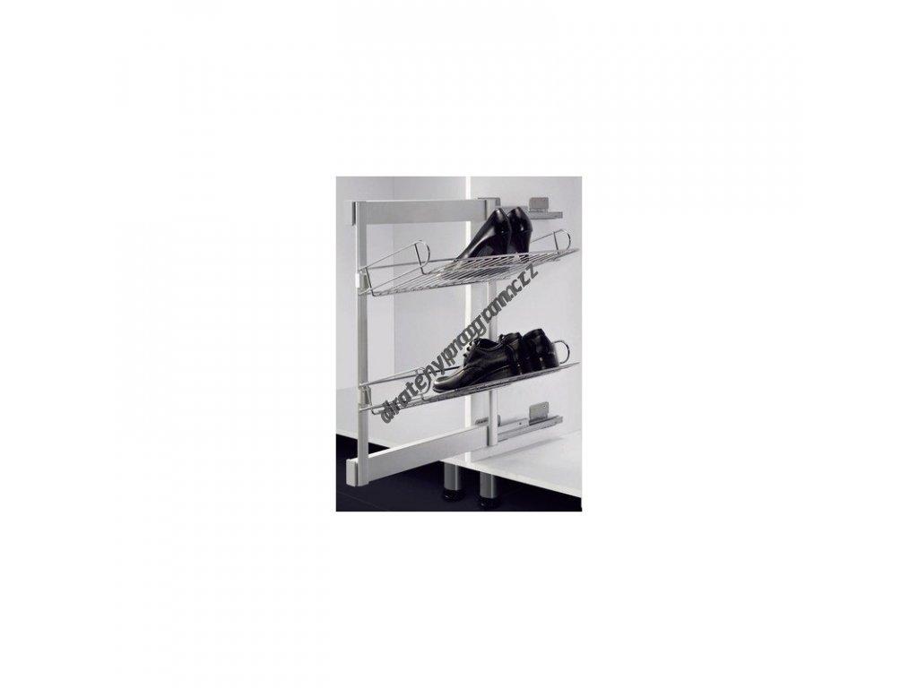 Výsuvný botník boční s tlumeným dovřením, 327x457x800 mm, pravý, chrom, hliník