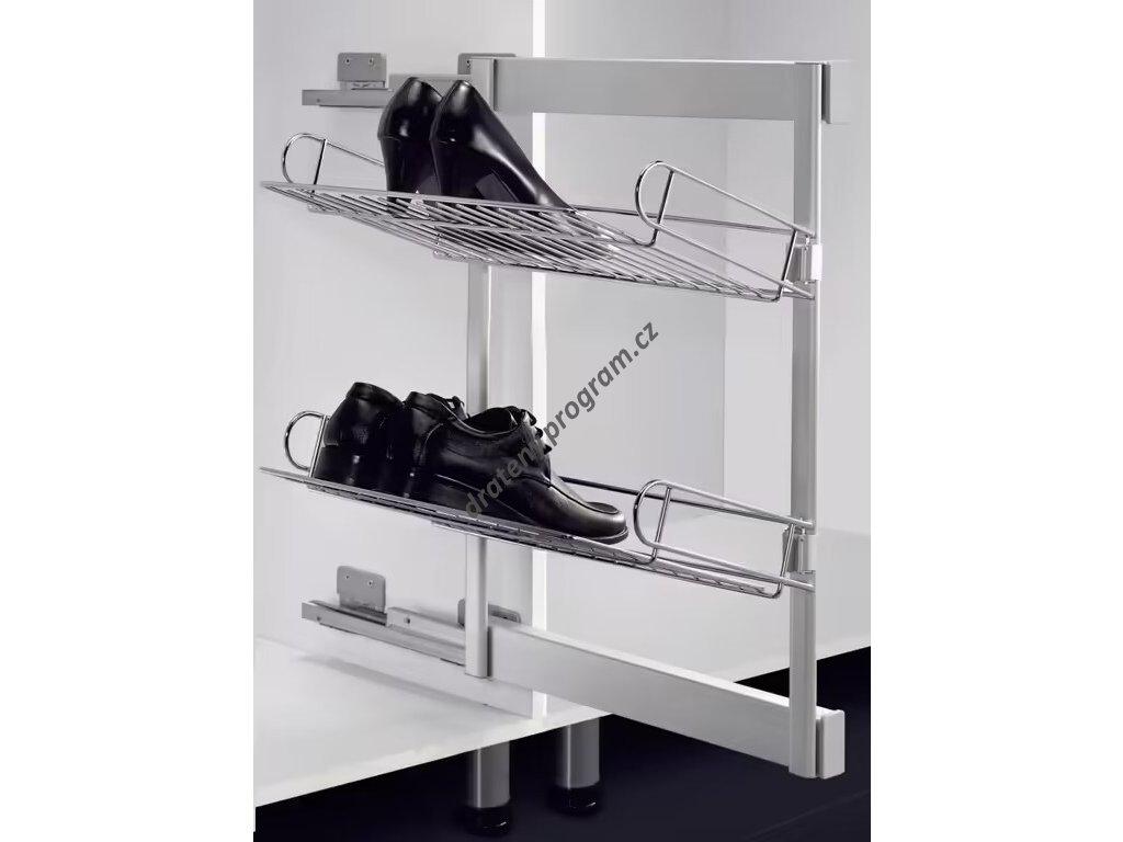 Výsuvný botník boční s tlumeným dovřením, 327x457x560 mm, levý, chrom, hliník