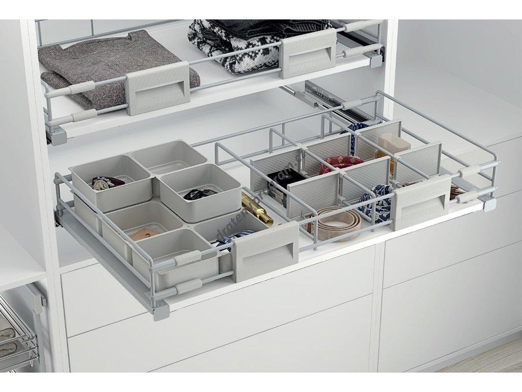 Šatní plnovýsuvný koš - railing pro lamino, výsuv Hettich, 700-800x476,5x137 mm