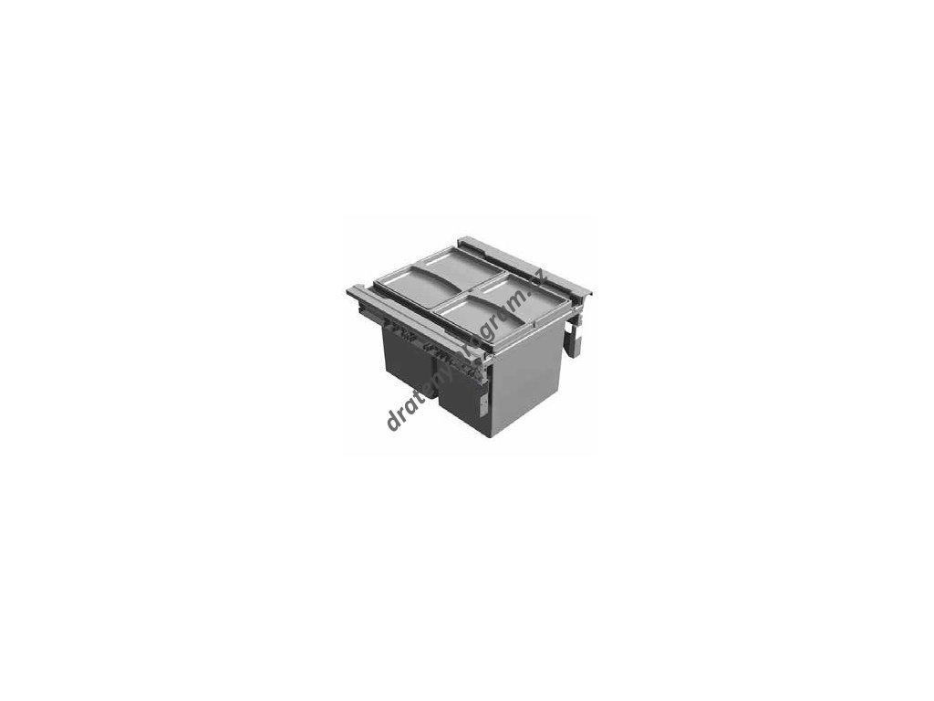 Odpadkový 2-koš Vantage, 2x17 l, 390x450x298 mm, K45 - šedý