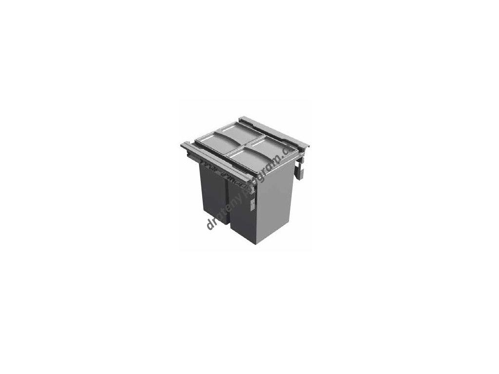 Odpadkový 2-koš Vantage, 2x29 l, 390x450x463 mm, K45 - šedý