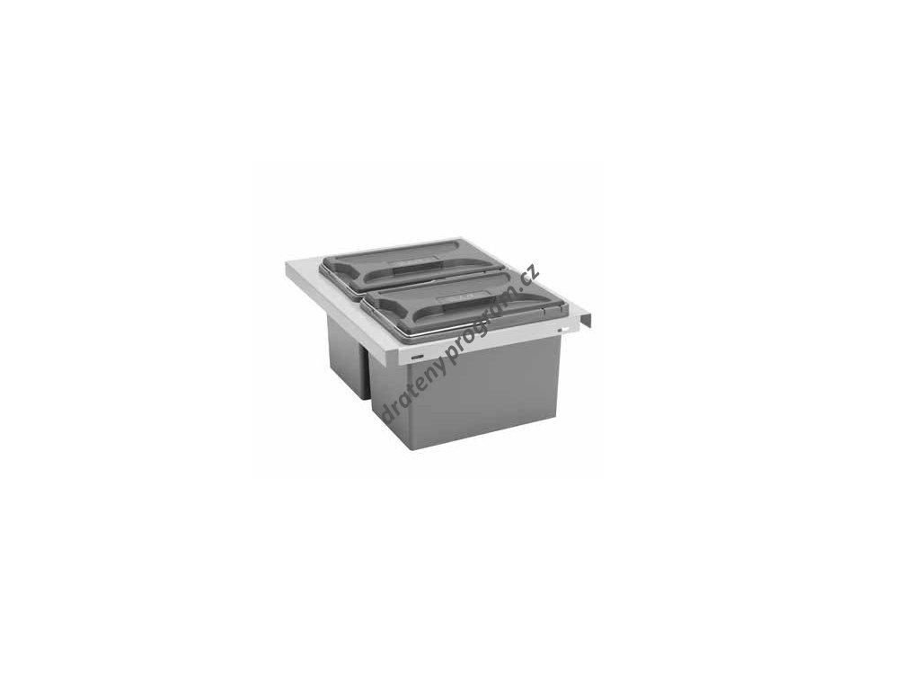 Odpadkový koš CUBE Smart 400, 2x8 l, šedý, plast