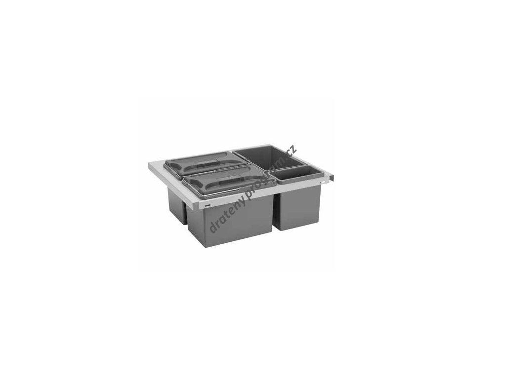 Odpadkový koš CUBE Smart 600, 3x8 + 1x2,8 l, šedý, plast