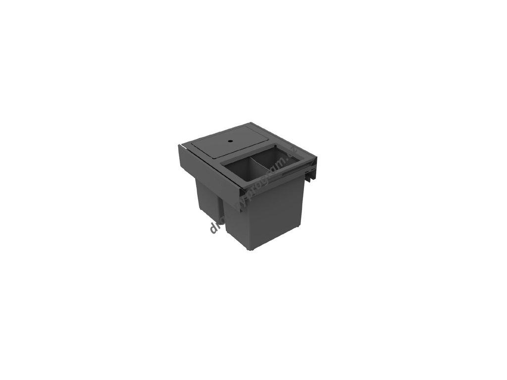 Odpadkový koš HIDE 400, 2x12 l - antracit
