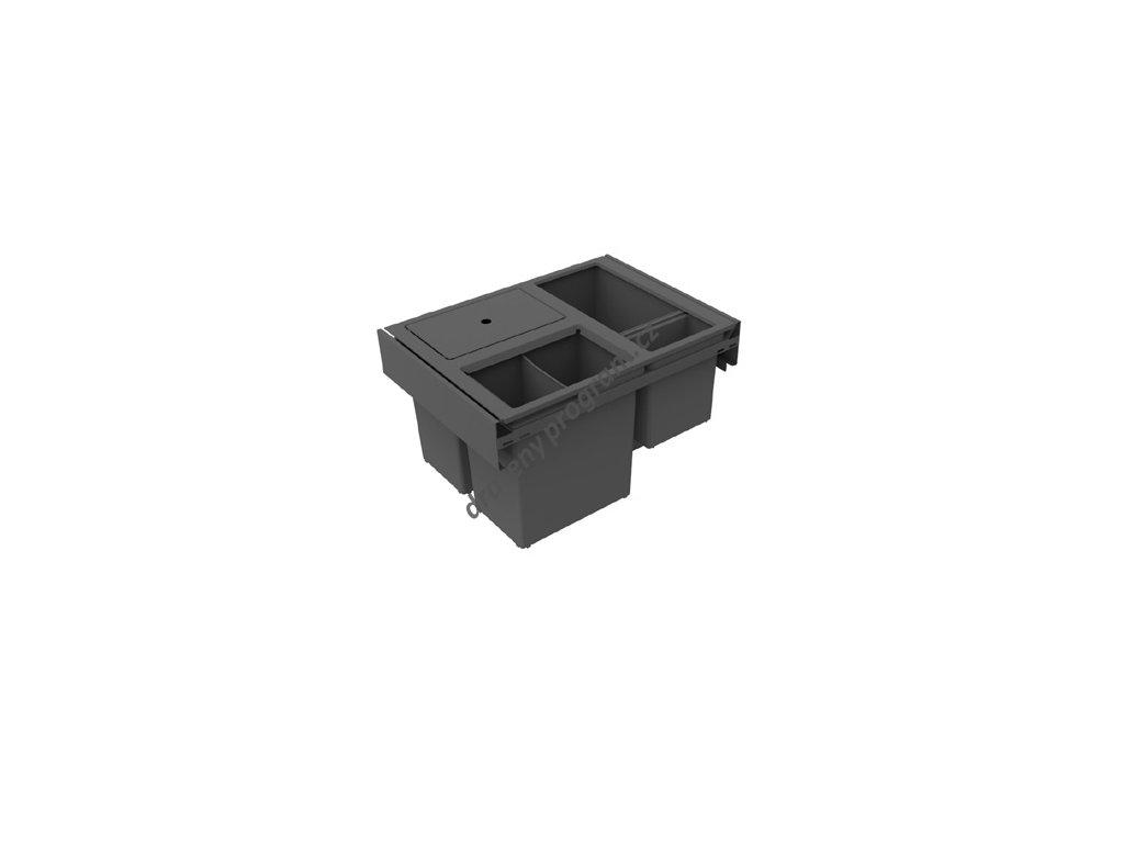 Odpadkový koš HIDE 600, 3x12 + 2,8 l, antracit, plast