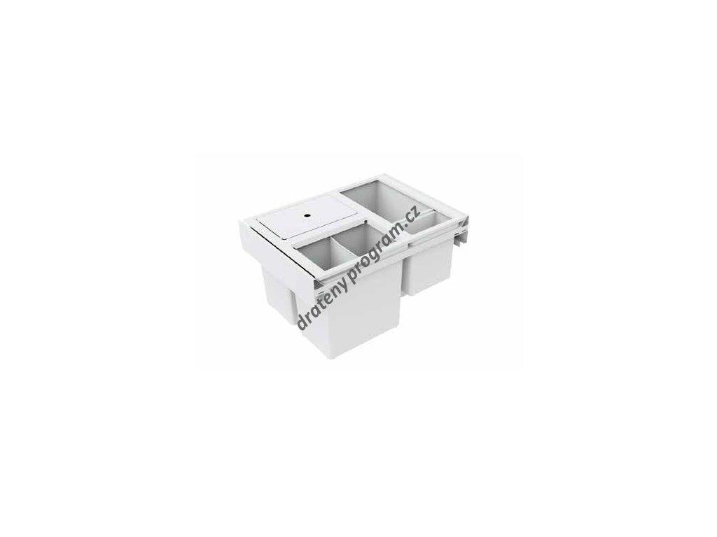 Odpadkový koš HIDE 600, 3x12 + 2,8 l, bílý, plast