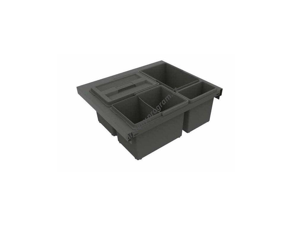 Odpadkový koš SLIM 600, 3x8 + 1x2,8 l, antracit, plast