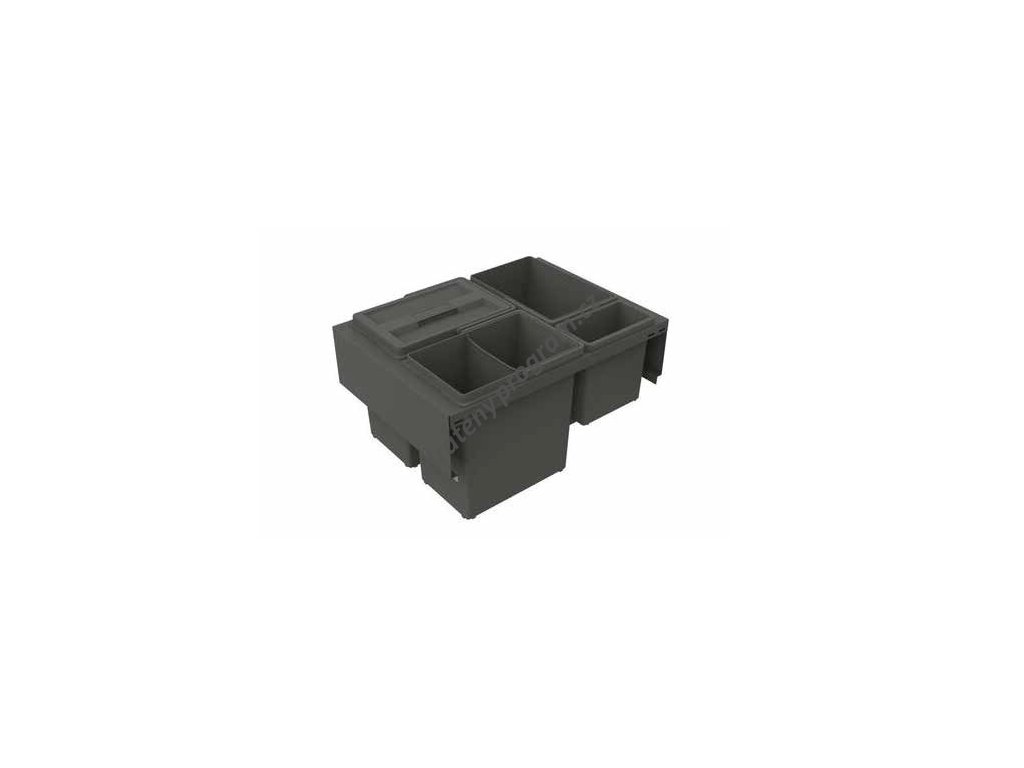 Odpadkový koš TREND 600, 3x12 l + 1x2,8 l, antracit, plast