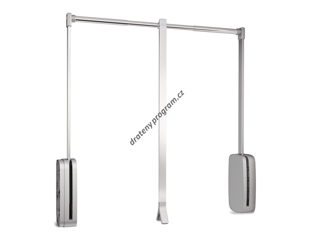Sklopná šatní tyč SLING - chrom, šedý plast 450-600x126x840 mm