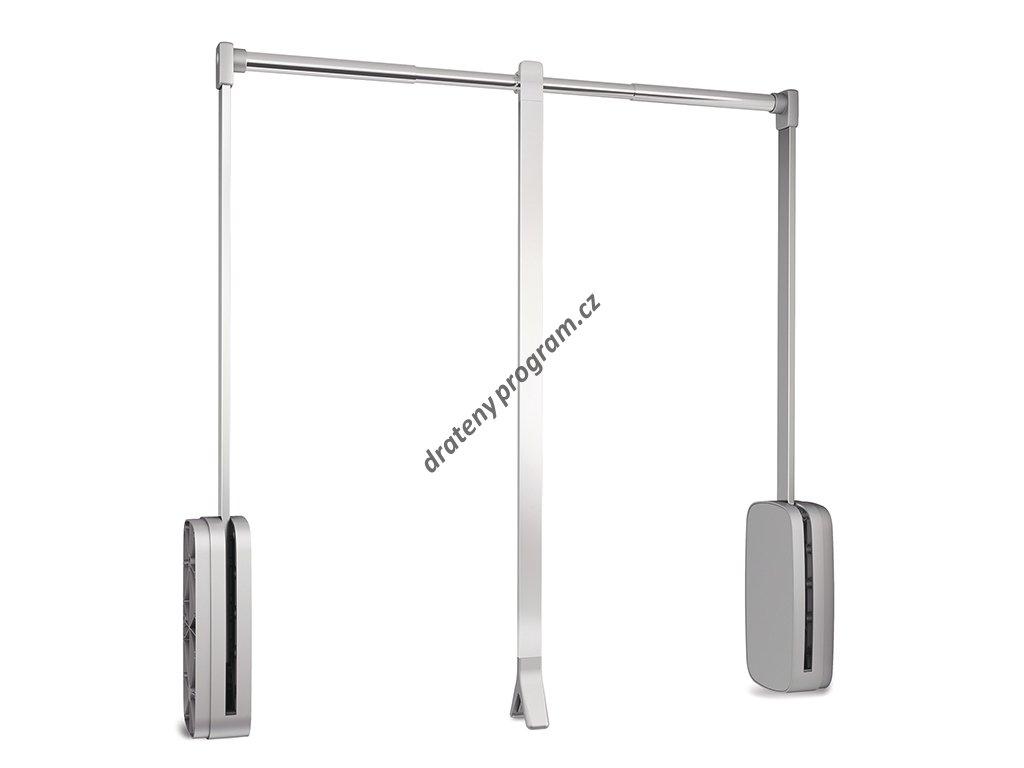 Sklopná šatní tyč SLING - chrom, bílý plast 830-1150x126x840 mm