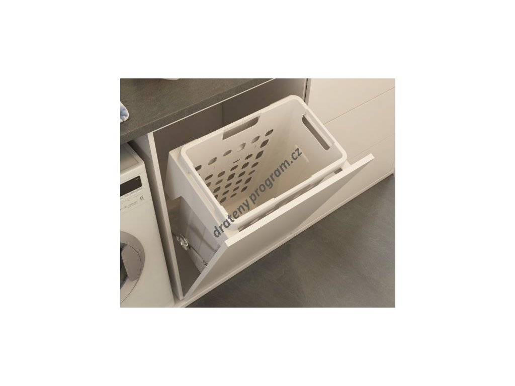 Prádelní výklopný koš Elegance, 35 l, 400x261x552 mm, bílý plast