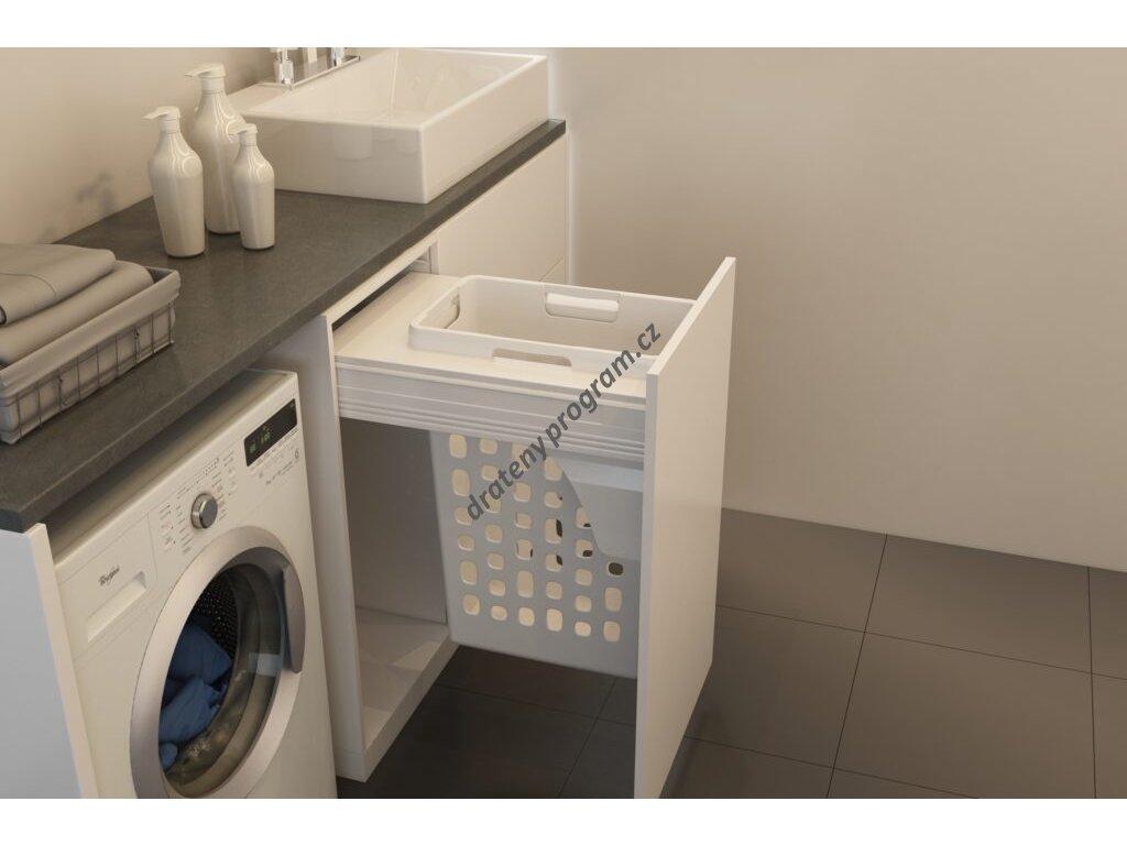 Prádelní výsuvný koš Elegance, 35 l - bílý plast bez výsuvu