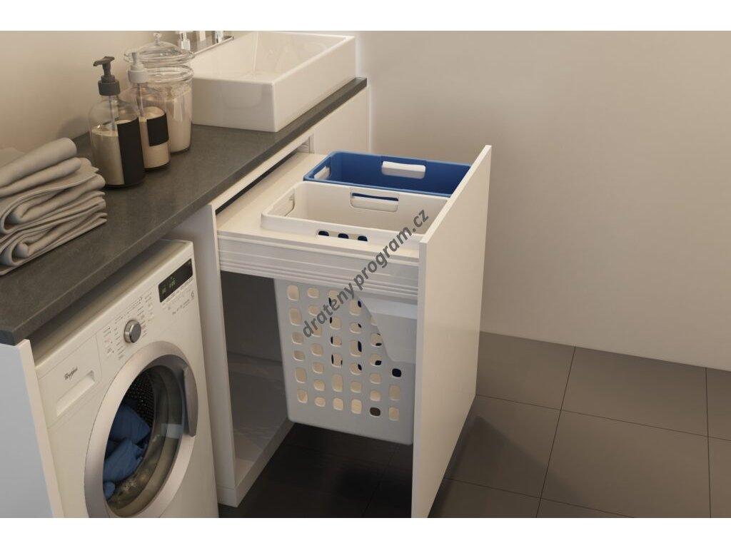 Prádelní výsuvný koš Elegance, 70 l (2x35) - bílý plast bez výsuvu