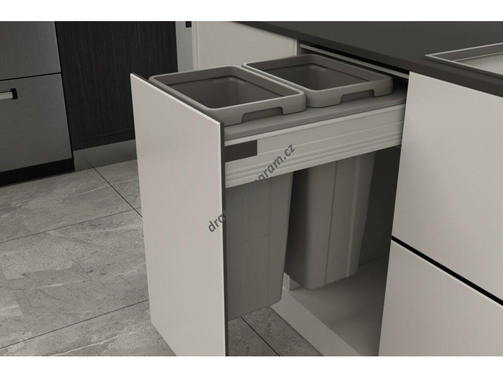Odpadkový 2-koš Elegance, 2x18 l, K40 - šedý plast