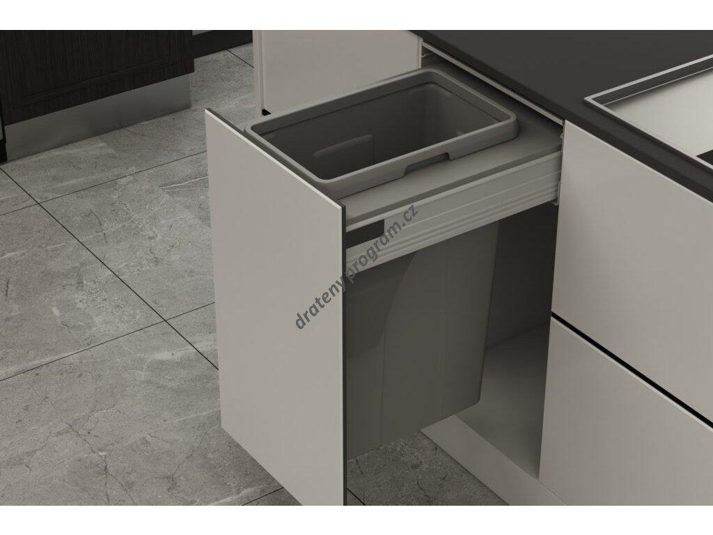 Odpadkový koš Elegance, 1x35 l, K40 - šedý plast bez výsuvu