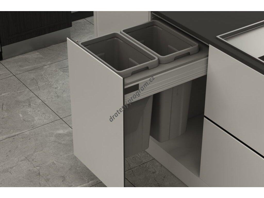 Odpadkový 2-koš Elegance, 2x27 l, K45 - šedý plast