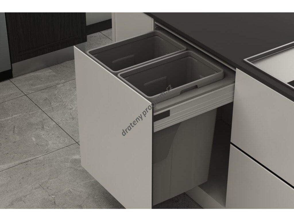 Odpadkový 2-koš Elegance, 2x35 l, K60 - šedý plast bez výsuvu