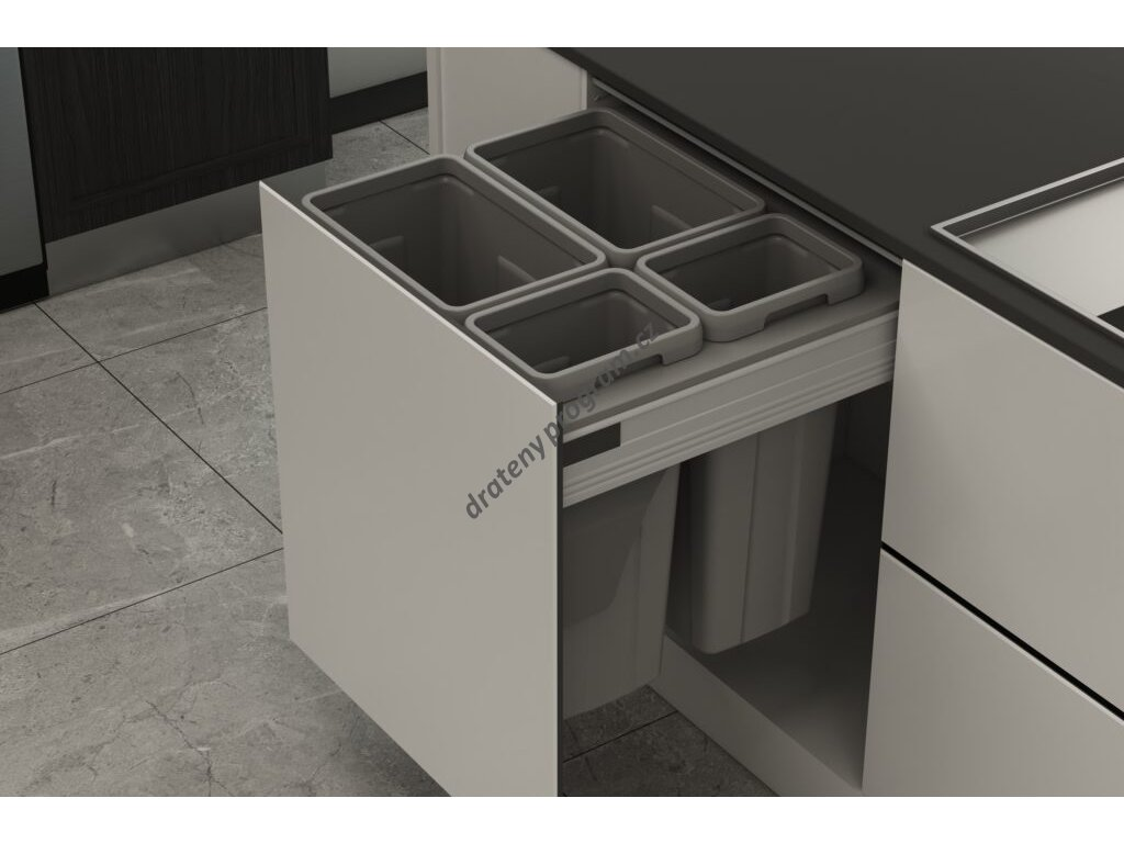 Odpadkový 4-koš Elegance, 2x21 + 2x9 l, 562-568x506x470, K60-šedý plast