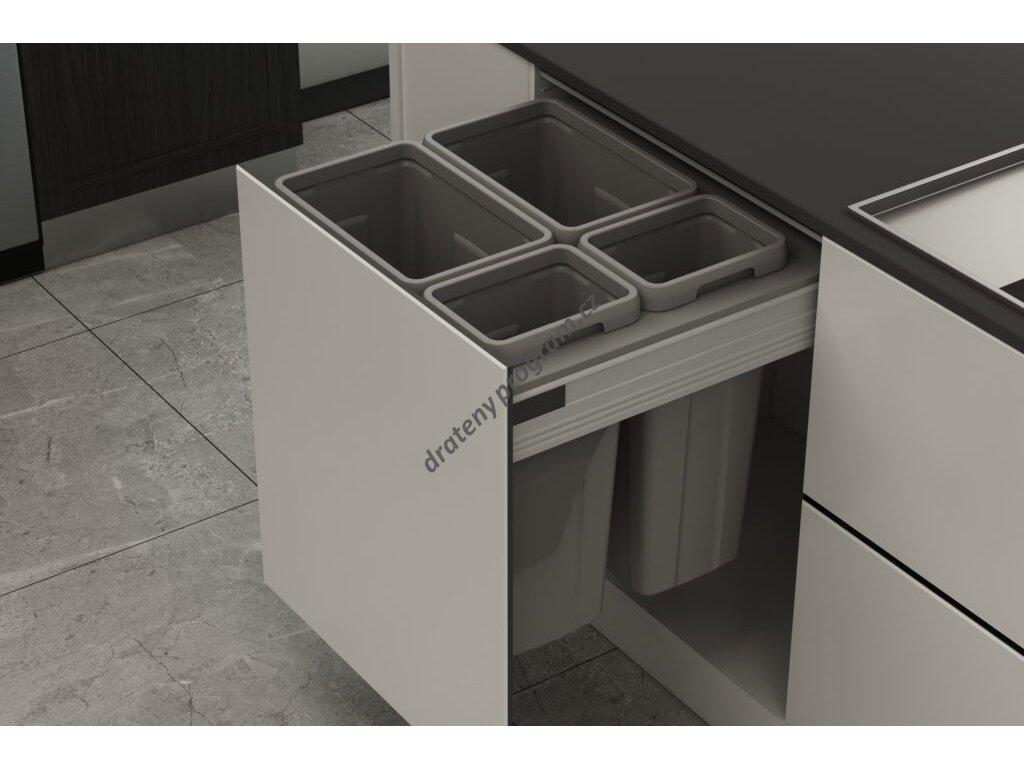 Odpadkový 4-koš Elegance, 2x21 l + 2x9 l, K60 - šedý plast