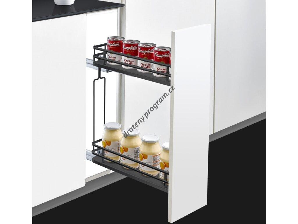 Plnovýsuvný dvojkoš boční Elegance - antracit s tlumeným dovřením - Levý, 160x455x520 mm
