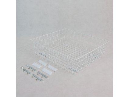 Výsuvný drátěný šatní koš 700/150 mm, bílý epoxid