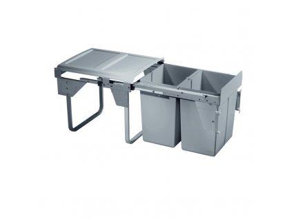 Výsuvný odpadkový 2-koš Komfort s úchyty dvířek, 2x20 l, K45-šedý plast