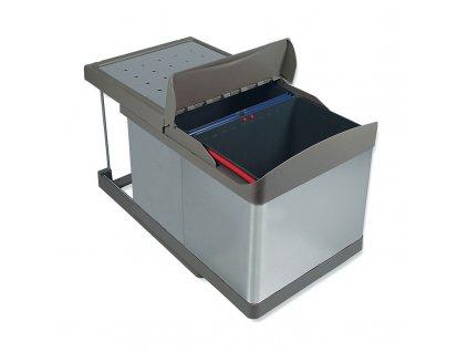 Výsuvný odpadkový 2-koš s aut. otevřením, 2x16 l, K45 - šedý plast