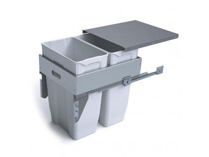 Výsuvný odpadkový 2-koš s úchyty dvířek, 2x35 l, K45 - šedý plast