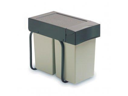 Výsuvný odpadkový 2-koš, 2x14 l, K30 - šedý plast
