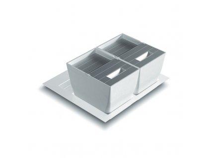 Odpadkový koš do šuplíku ELEGANCE 600, 2x13 l, K60 - bílý plast, nerez