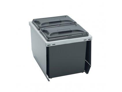 Odpadkový koš CUBE 400, 2x12 l, K40 - šedý plast
