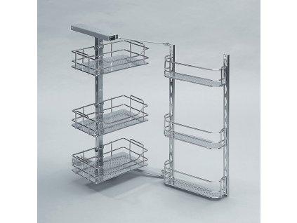 Horní police výsuvná dělená (6 košů), 460x370x640-740 mm, chrom