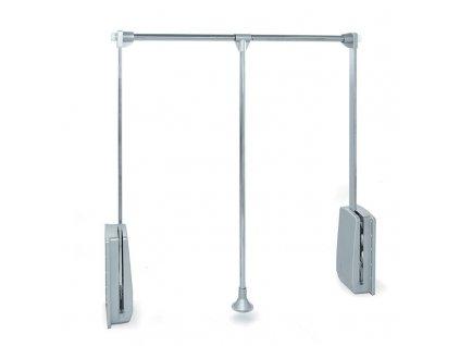 Sklopná šatní tyč - chrom, šedý plast 600-830x140x840 mm