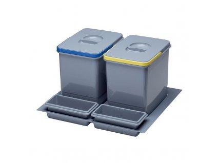Odpadkový koš do šuplíku 600, 2x15 l, šedý plast