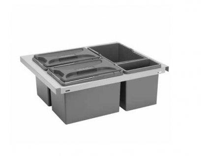 Odpadkový koš CUBE Smart 600, 3x8 l  + 1x2,8 l - šedý