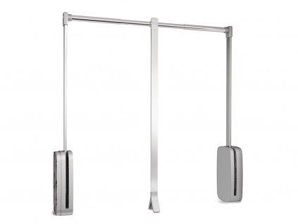 Sklopná šatní tyč SLING - chrom, stříbrný plast 830-1150x126x840 mm