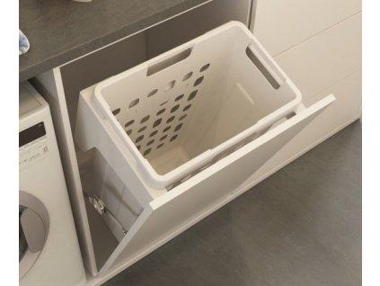 Prádelní výklopný koš Elegance, 35 l - bílý plast