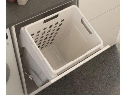 Prádelní výklopný koš Elegance, 48 l, 400x346x530 mm, bílý plast