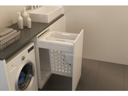 Prádelní výsuvný koš Elegance, 35 l - bílý plast