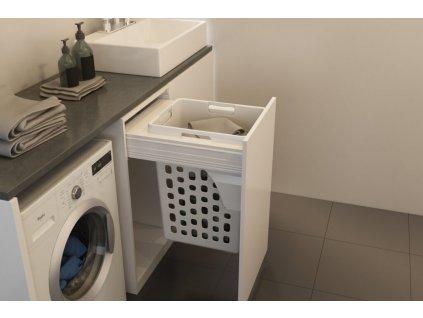 Prádelní výsuvný koš Elegance, 48 l - bílý plast
