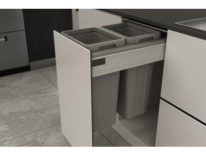 Odpadkový 2-koš Elegance, 2x18 l, 362-368x506x470, K40-šedý plast